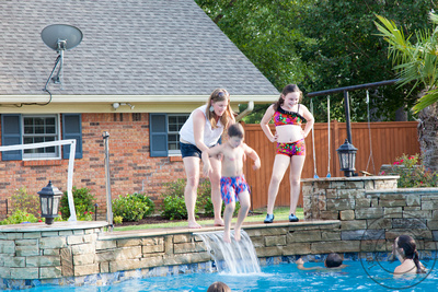 family portrait, photos, pool, Fourth of July, Independence Day
