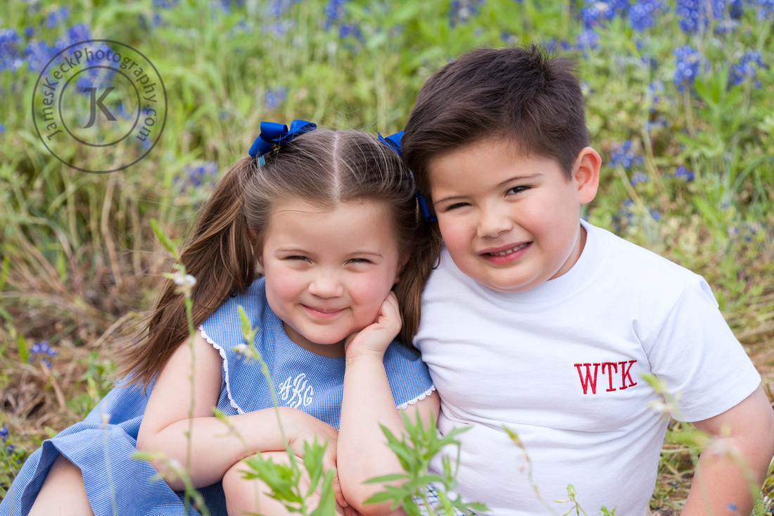 Portrait of Brother and Sister with Bluebonnets