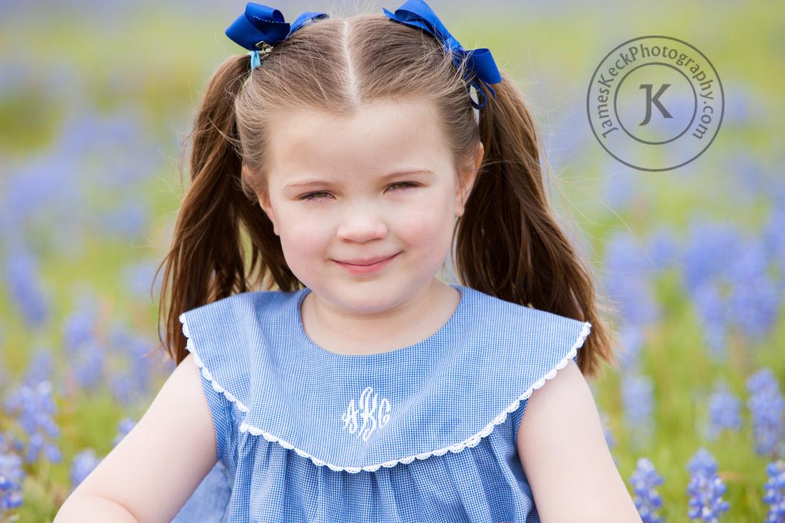 Portrait of Girl in Bluebonnets