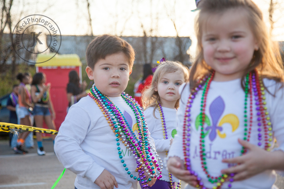 William, Amelia, and Audrey at Mardi Gras Parade