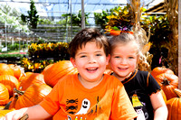 Portrait of Sister and Brother in Pumpkin Patch