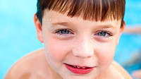 Little Boy in Swimming Pool Photograph