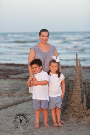 Mother, Son, and Daughter Portrait on the Beach
